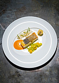 Bass with choron sauce, courgette and sepia noodles