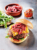 Lamb burger made in a Beefer with port wine onions and Cheddar cheese