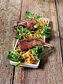 Lamb chops made in a Beefer with a pumpkin and chestnut salad