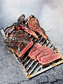 Porterhouse steak made in a Beefer on a grilling rack