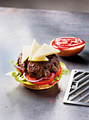 A beefburger made in a Beefer with manchego cheese