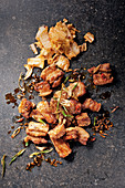 Fried pork belly with marinated Chinese cabbage
