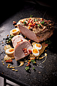 Baked ham with mustard eggs
