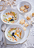Carp soup with caviar and crunchy croutons