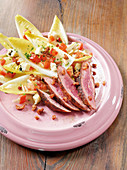 Barbary duck breast made in a Beefer with a chicory salad