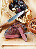 Dry-aged US rump steak made in a Beefer with baked beetroots
