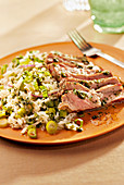 Rump steak and mint salad with rice