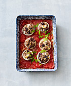 Stuffed Greek onions with minced meat and feta cheese