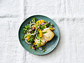 Orange salad with turbot and kalamata olives