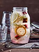 Lemon, rhubarb and elderflower lemonade
