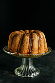 Marble bundt cake with caramel sauce