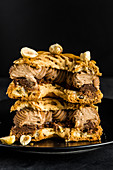 Paris-Brest, ring of choux pastry with hazelnut and chocolate cream