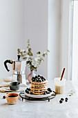 Mini pancakes with blueberries