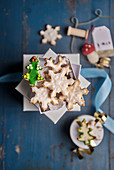 Butter biscuits in a white box with Christmas decorations