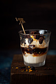 Sherry Affogata with vanilla ice cream and brownie pieces