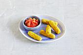 Chickpea sticks with tomato salsa