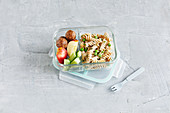 Pasta salad, chicken meatballs and fruit to go