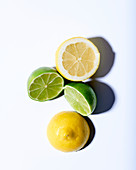Lemon and lime halves