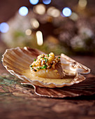 Scallop with apple and nuts