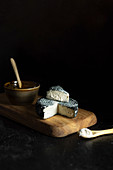 Vegan Cashew Cheese with Jam on Wood Board