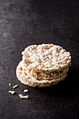 Rice cakes on a dark background