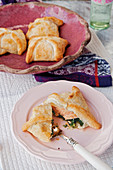 Salmon with spinach and mozzarella in puff pastry
