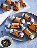 Cannoli tubes with whipped cream