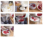 Pomegranate cheesecake being made