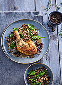 Thyme chicken with mushrooms and spinach