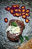 Grilled rib-eye steak with original carrots, sage and lemon butter