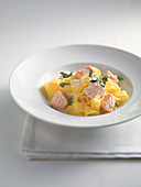 Tagliatelle with salmon and a wine sauce