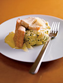 Smoked eel with potatoes in a white sauce