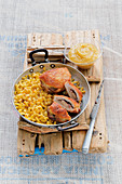 Appenzeller cheese schnitzel with cheese pasta