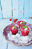 Chilled strawberry soup with mozzarella and mint
