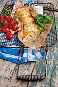 Puff pastry vegetable strudel with mozzarella
