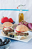 Greek burgers with feta cheese, olives and mozzarella