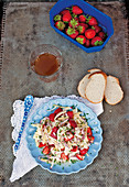 Cheese salad with Emmental, mozzarella and strawberries