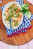 Potato and kohlrabi bake with mozzarella