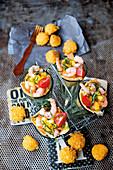 Pineapple and prawn salad with fried mini mozzarella