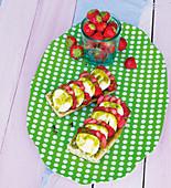 Strawberry and mozzarella ciabatta with pistachio nuts and green chilli sauce