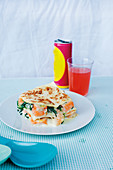Prawn and salmon lasagne with spinach and mozzarella