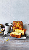 Passion fruit and yoghurt cake with rosehip syrup
