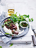 Spiced rubbed lamb with cauliflower purree