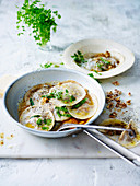 Mushroom and goat's cheese ravioli with tarragon brown butter