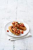 Braised borlotti beans on crostini