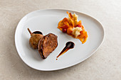 Nantaise duck, maple syrup, orange blossom jua and sweet potatoes