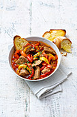 Veal ragout with peppers