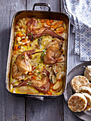 Rabbit with creamy sauce and wholemeal dumpling