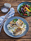 Pike perch with wine sauce and beetroot salad