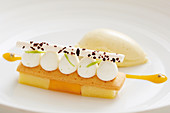 Deconstructed lemon tart with meringue and lemon sorbet